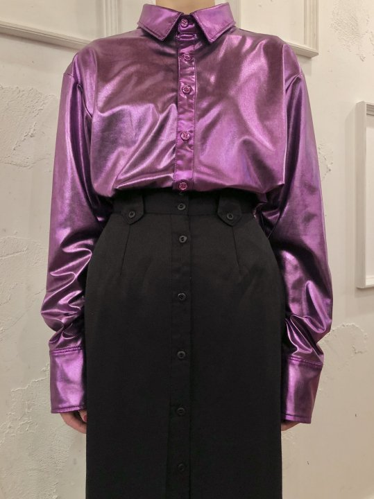 Vintage Metallic Purple Shirt L