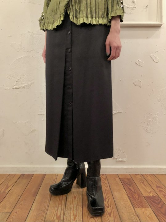 Vintage Button Design Long Skirt Black S