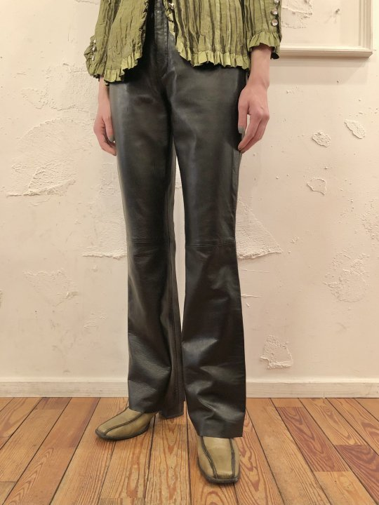 Vintage Black Leather Flare Pants S
