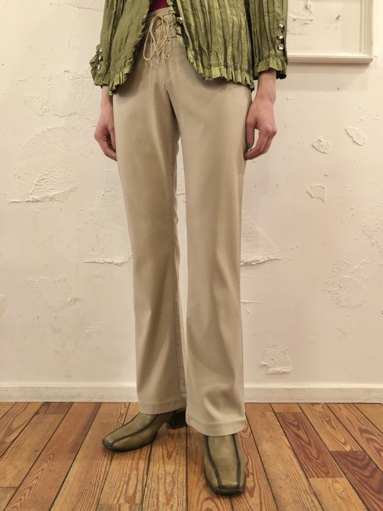 Vintage Lace Up Stretch Flare Pants Beige S