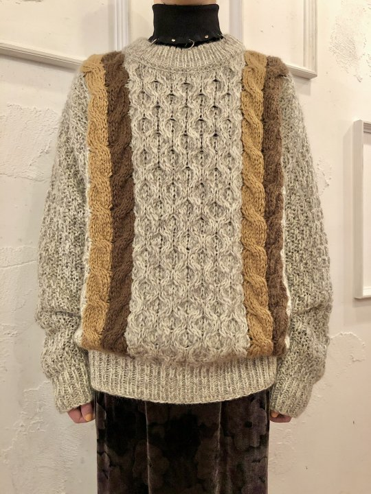 Vintage Lined Cable Knit Sweater Beige L<img class='new_mark_img2' src='https://img.shop-pro.jp/img/new/icons50.gif' style='border:none;display:inline;margin:0px;padding:0px;width:auto;' />