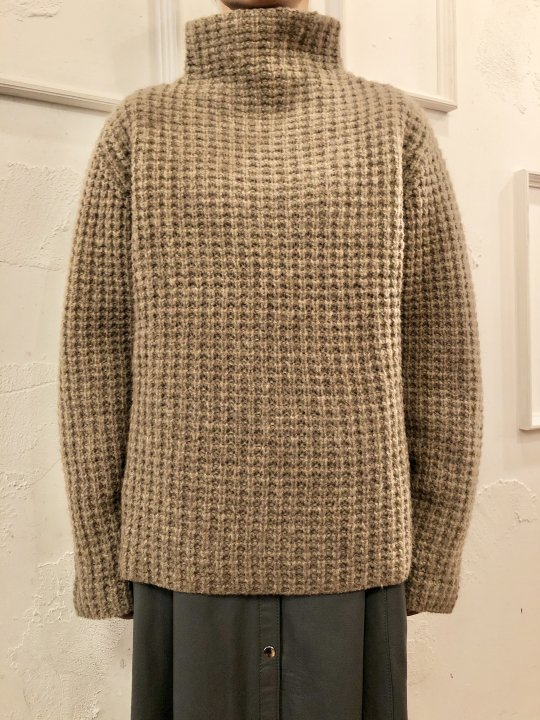 Vintage Waffle Knit High Neck Sweater L