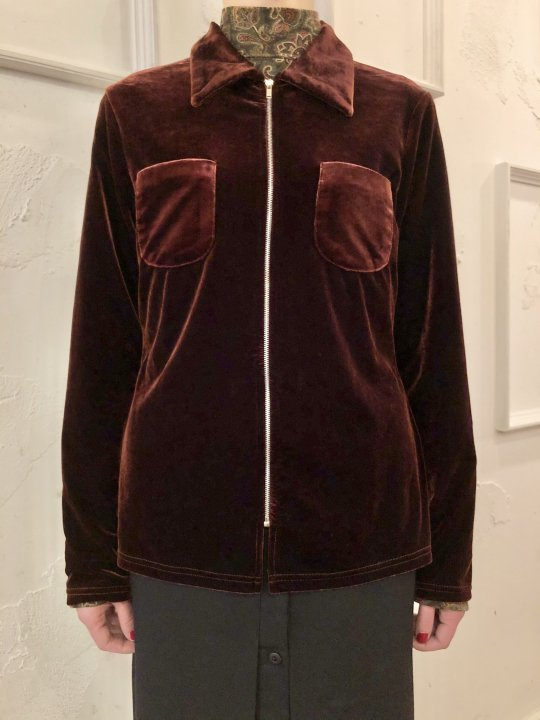 Vintage Wine Red Velour Zip Up Shirt S
