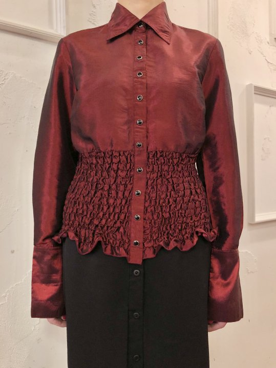 Vintage Wine Red Metallic Design Shirt S