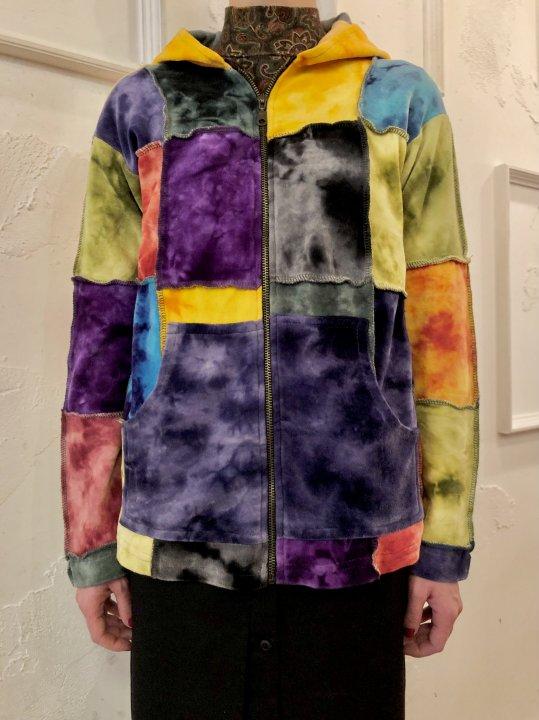 Vintage Tie Dye Paneled Velour Parka  L