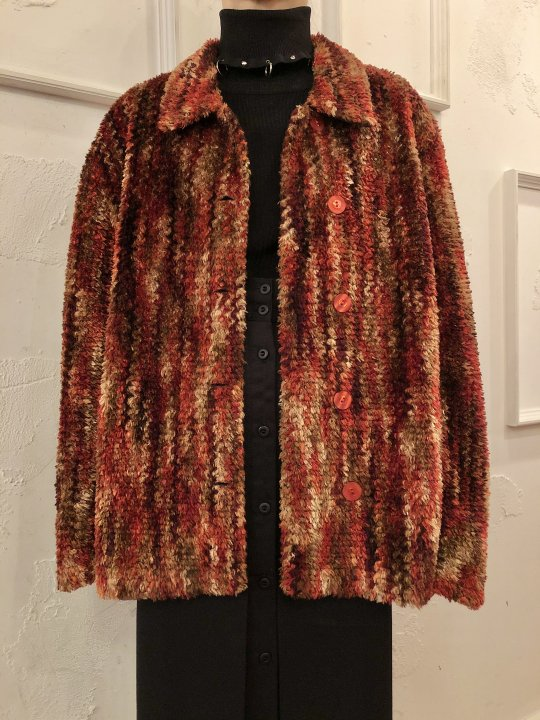 Vintage Multi Color Fluffy Fur Jacket L<img class='new_mark_img2' src='https://img.shop-pro.jp/img/new/icons50.gif' style='border:none;display:inline;margin:0px;padding:0px;width:auto;' />