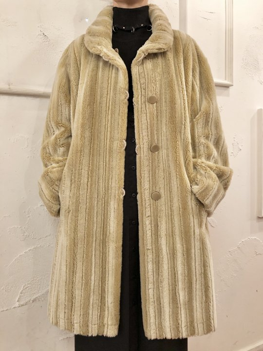 Vintage Ivory Faux Fur Reversible Coat L