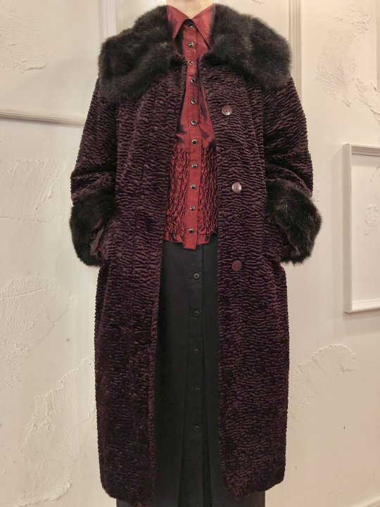 Vintage Wine Red Classical Design Faux Fur Coat S