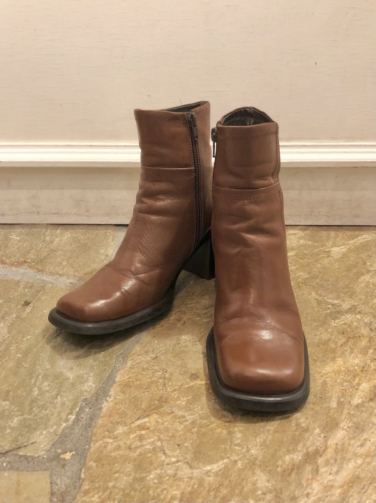 Vintage Brown Leather Heel Boots 24.0cm