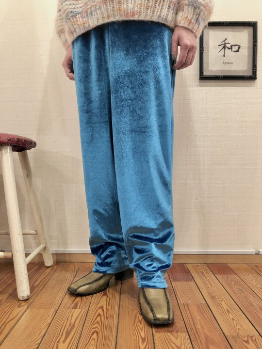 Vintage Turquoise Blue Velour Easy Pants M<img class='new_mark_img2' src='https://img.shop-pro.jp/img/new/icons50.gif' style='border:none;display:inline;margin:0px;padding:0px;width:auto;' />