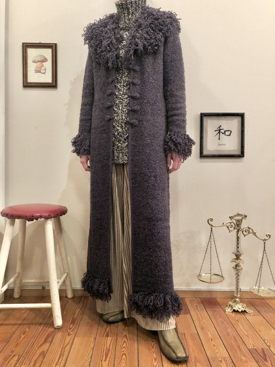 Vintage Blue Gray Maxi Knit Coat M