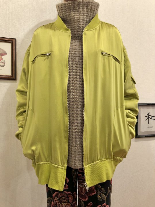 Vintage Green Gold Silk Bomber Jacket L