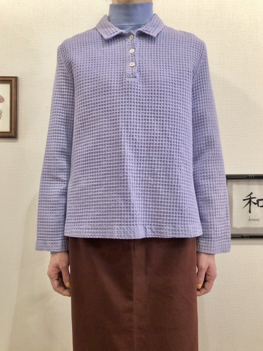 Vintage Lilac Waffle Pullover Shirt S<img class='new_mark_img2' src='https://img.shop-pro.jp/img/new/icons50.gif' style='border:none;display:inline;margin:0px;padding:0px;width:auto;' />