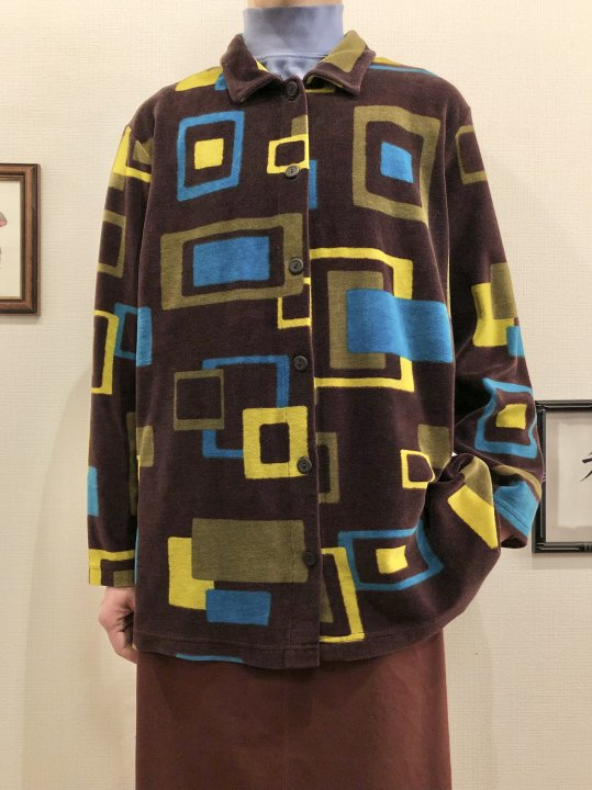 Vintage Geometric Velour Shirt M