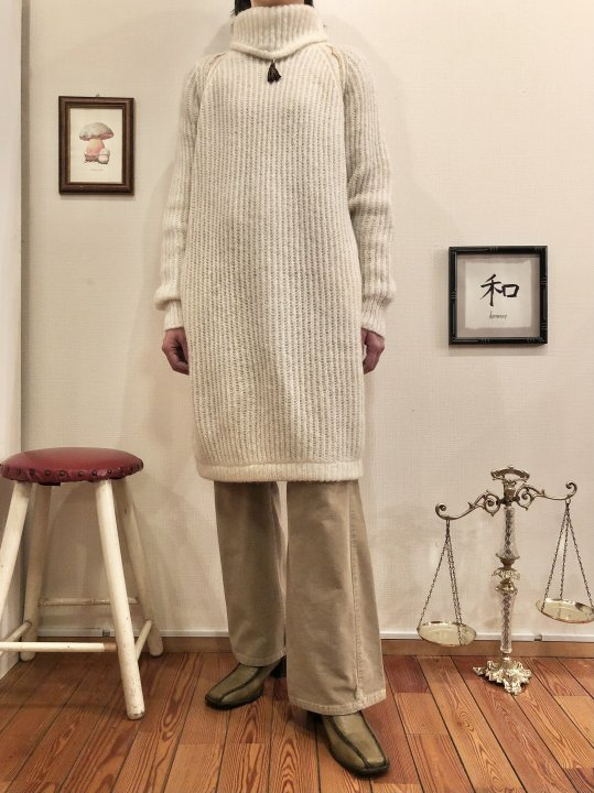 Vintage Off White Mohair Knit Dress M