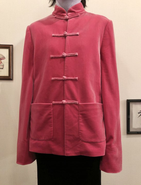 Vintage Coral Red Velour China Jacket M<img class='new_mark_img2' src='https://img.shop-pro.jp/img/new/icons50.gif' style='border:none;display:inline;margin:0px;padding:0px;width:auto;' />