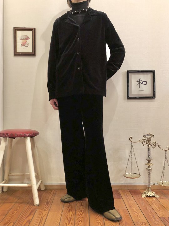 Vintage Black Velour Flare Set Up M
