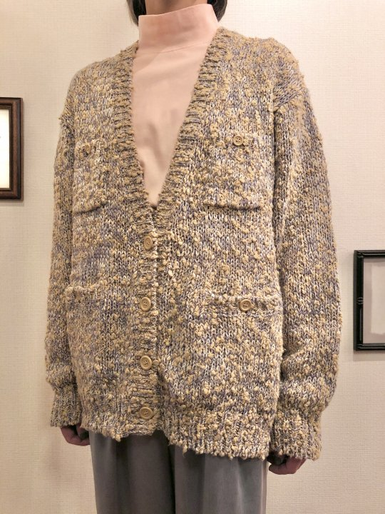 Vintage Gold Beige Nep Yarn Cardigan M<img class='new_mark_img2' src='https://img.shop-pro.jp/img/new/icons50.gif' style='border:none;display:inline;margin:0px;padding:0px;width:auto;' />