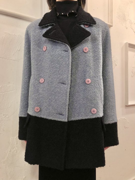 Vintage Blue Gray/Black 2Tone Double Breasted Coat M
