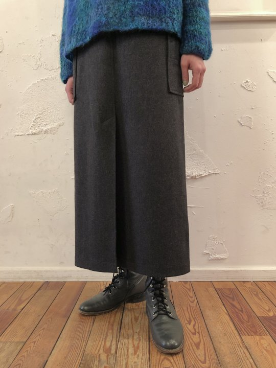 Vintage Gray Wool Cargo Design Skirt M