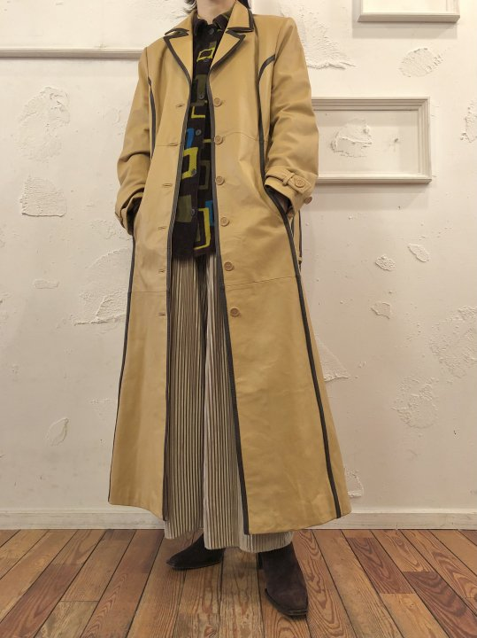 Vintage Pale Yellow Leather Long Coat M