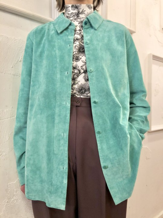 Vintage Mint Green Suede Shirt M<img class='new_mark_img2' src='https://img.shop-pro.jp/img/new/icons50.gif' style='border:none;display:inline;margin:0px;padding:0px;width:auto;' />