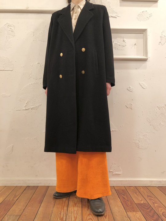 Vintage Double Breasted Black Wool Coat Gold Button M