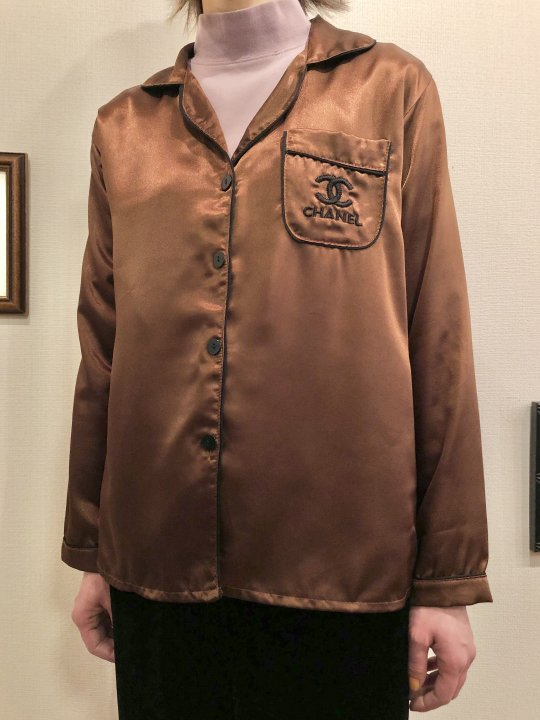 Vintage/Bootleg CHANEL Brown Satin Shirt M