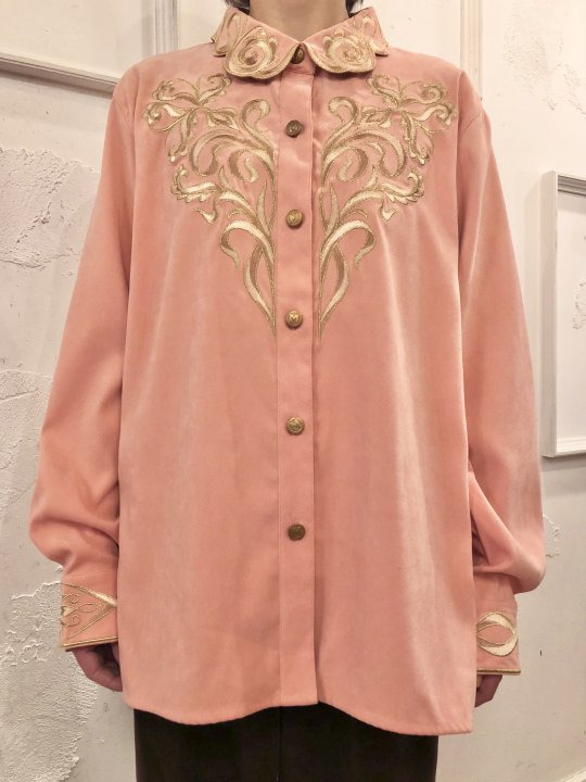 Vintage Embroidered Coral Faux Suede Shirt Jacket L<img class='new_mark_img2' src='https://img.shop-pro.jp/img/new/icons50.gif' style='border:none;display:inline;margin:0px;padding:0px;width:auto;' />
