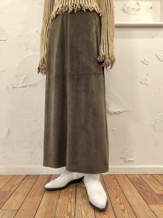 Vintage Khaki Faux Suede Long Skirt S