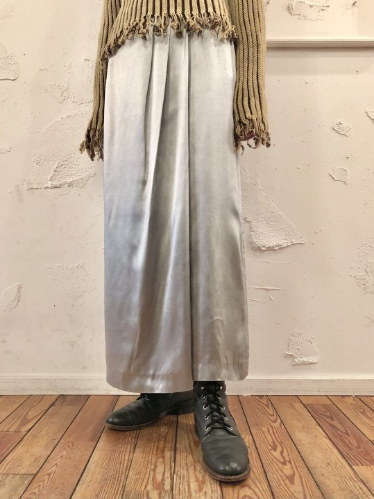 Vintage Metallic Silver Satin Long Skirt M