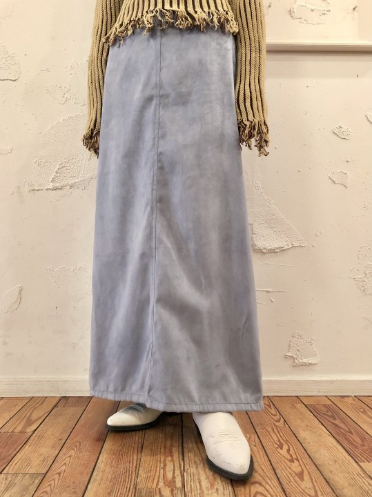 Vintage/DeadStock Blue Gray Faux Suede Maxi Skirt L<img class='new_mark_img2' src='https://img.shop-pro.jp/img/new/icons50.gif' style='border:none;display:inline;margin:0px;padding:0px;width:auto;' />