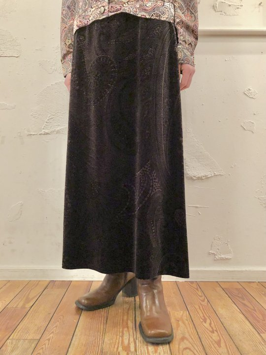 Vintage Paisley Dark Silver Velour Long Skirt M