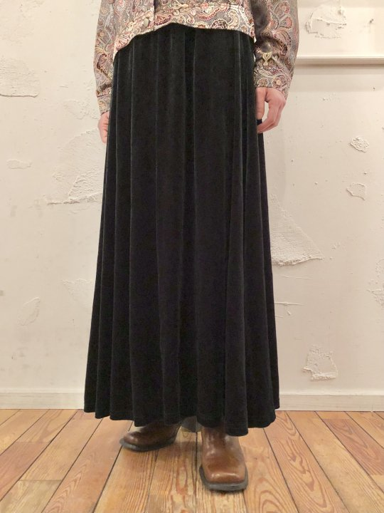 Vintage Dark Green Velour Long Skirt M