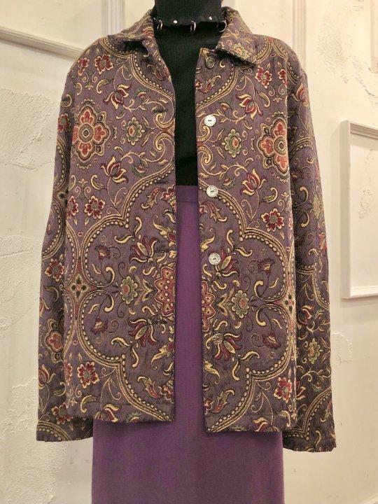 Vintage Purple Floral Jacquard Jacket M