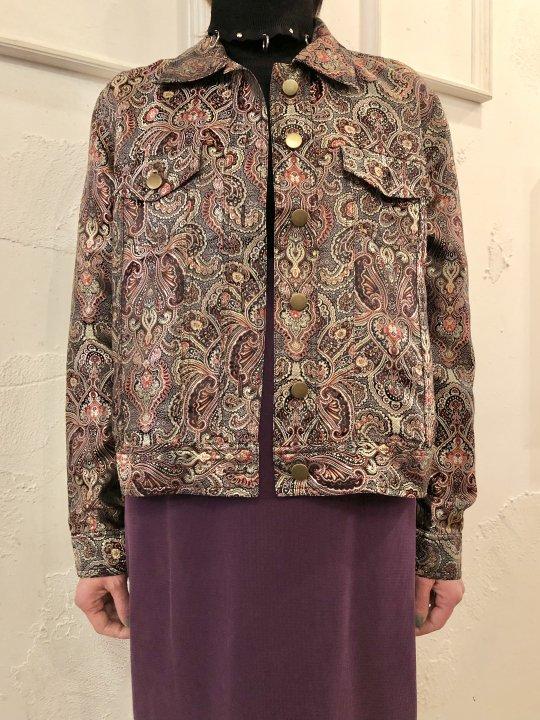 Vintage Paisley Motif Jaquard Satin Jacket M