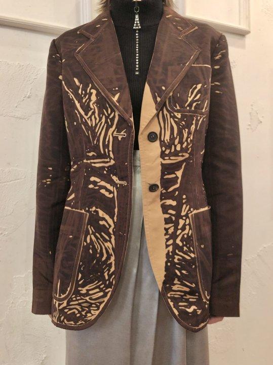 Vintage PRADA Gimmick Print Silk Jacket S