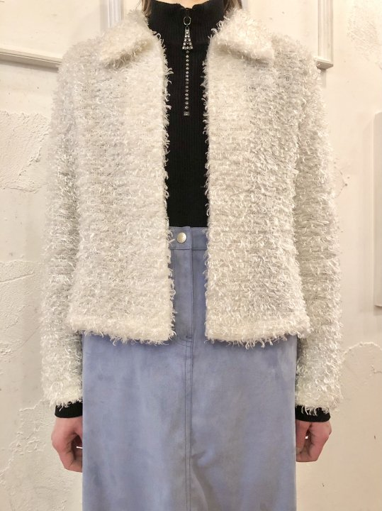 Vintage White Fluffy Fur Short Jacket S