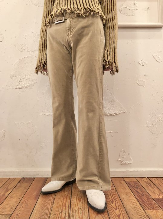 Vintage Belt Design Corduroy Flare Pants M<img class='new_mark_img2' src='https://img.shop-pro.jp/img/new/icons50.gif' style='border:none;display:inline;margin:0px;padding:0px;width:auto;' />