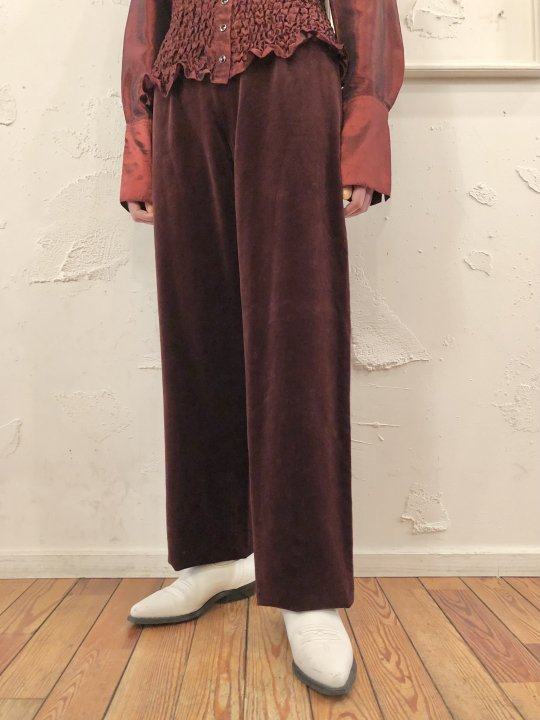 Vintage/DeadStock VALENTINO Wine Red Velour Pants M