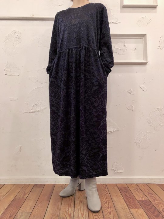Vintage Dark Navy Floral Design Velour Maxi Dress M