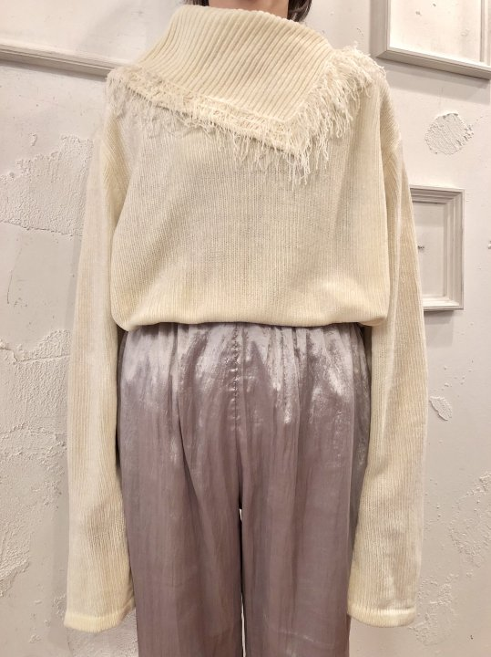 Vintage Fringe Design Mole Knit Sweater L