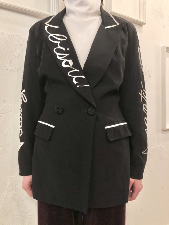 Vintage Black & White Embroidered Party Jacket S