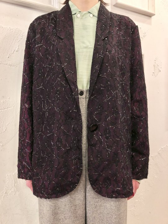 Vintage Lace Design Tailored Jacket M
