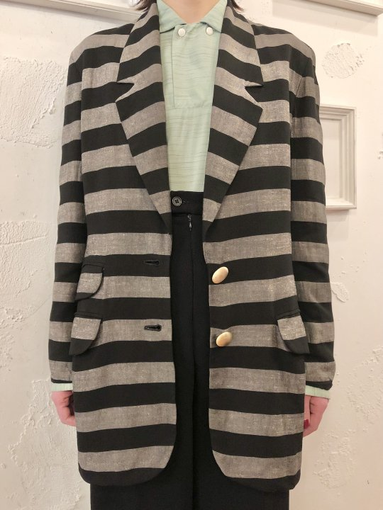 Vintage Christian Dior Black & Gray Stripe Tailored Jacket M