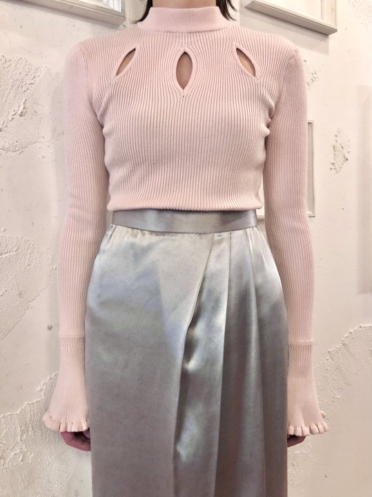 Vintage Cut Out Design Mockneck Pale Pink S