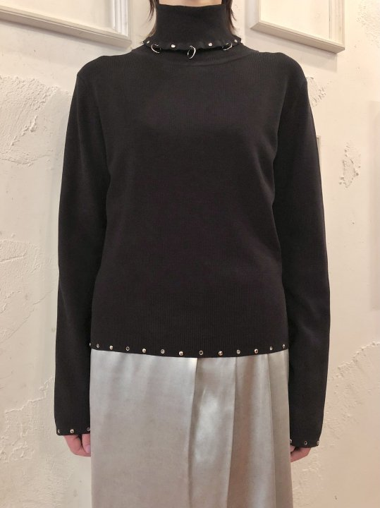 Vintage Silver Hoop & Studs Design Turtleneck Black M  <img class='new_mark_img2' src='https://img.shop-pro.jp/img/new/icons50.gif' style='border:none;display:inline;margin:0px;padding:0px;width:auto;' />