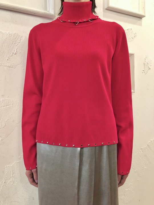 Vintage Silver Hoop & Studs Design Turtleneck Red M<img class='new_mark_img2' src='https://img.shop-pro.jp/img/new/icons50.gif' style='border:none;display:inline;margin:0px;padding:0px;width:auto;' />