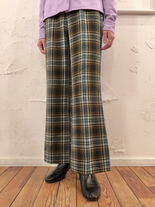 Vintage Shadow Plaid Flared Pants M