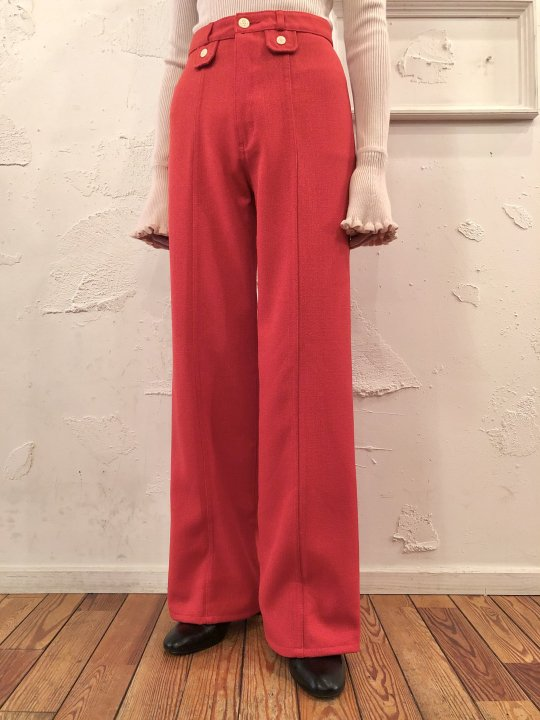 Vintage Coral Red Flare Pants M<img class='new_mark_img2' src='https://img.shop-pro.jp/img/new/icons50.gif' style='border:none;display:inline;margin:0px;padding:0px;width:auto;' />
